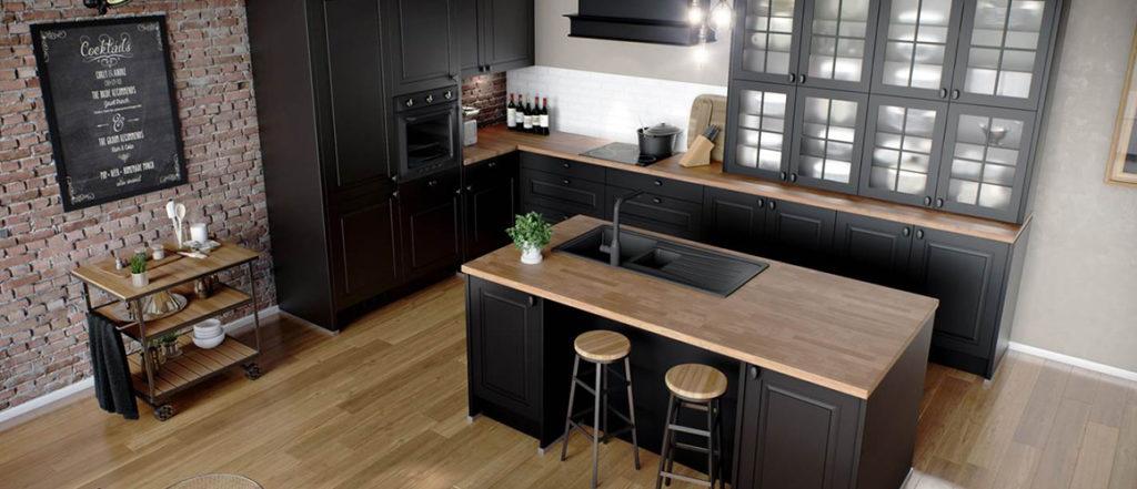 Optez pour le style bistrot chic avec une cuisine noire mate